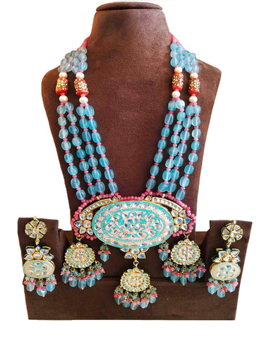 Party Wear Kundan Sky Tone Pearl Beaded Necklace with Earrings