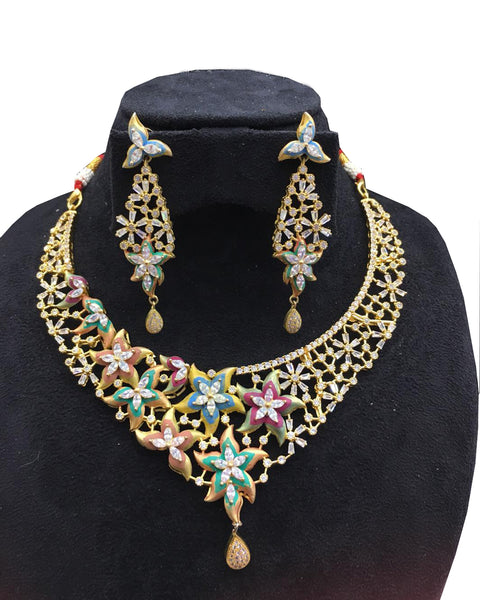 Party Wear Kundan Multi Meena Tone Sliver Stone Necklace with Earrings