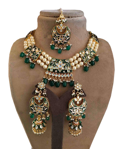 Designer White and Grey Kundan And Meena Set