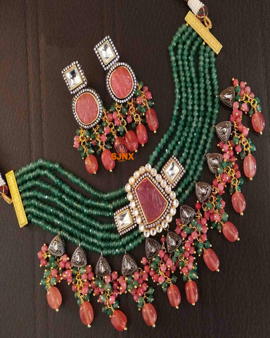 Party Wear Kundan Silver Tone Peach And Green Pearl Beaded Necklace with Earrings