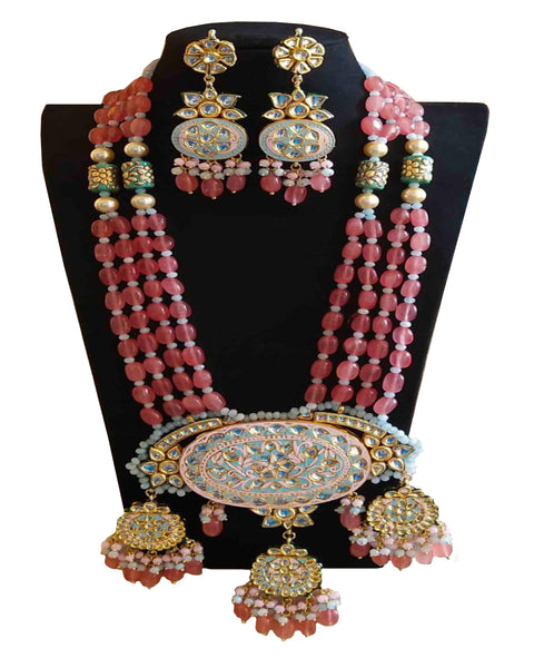 Party Wear Kundan Silver Tone Pink And Sky Pearl Beaded Necklace with Earrings