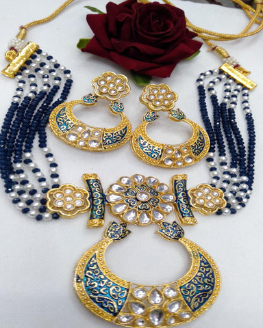 Party Wear Kundan Silver Tone Navy  Blue  And Gold  Meena Necklace with Earrings
