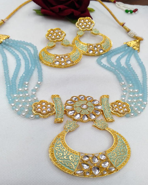 Party Wear Kundan Silver Tone Sky Blue  And Gold  Meena Necklace with Earrings