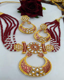 Party Wear Kundan Silver Tone Red  And Gold  Meena Necklace with Earrings