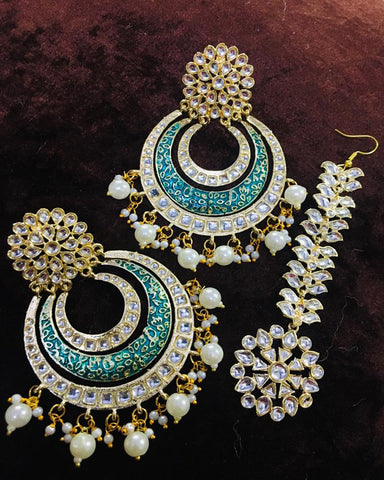 Exclusive Maang Tikka Designed In Stones , Meena And Pearls With Matching Earrings