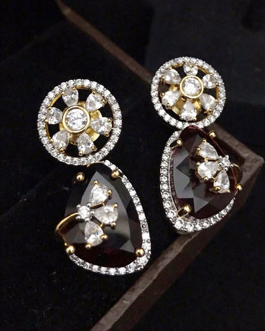 Party White,Red Zircon Stone Earrings