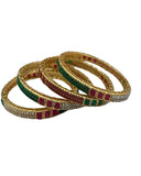 Coppe Bangles With Pearls And Ad Stones