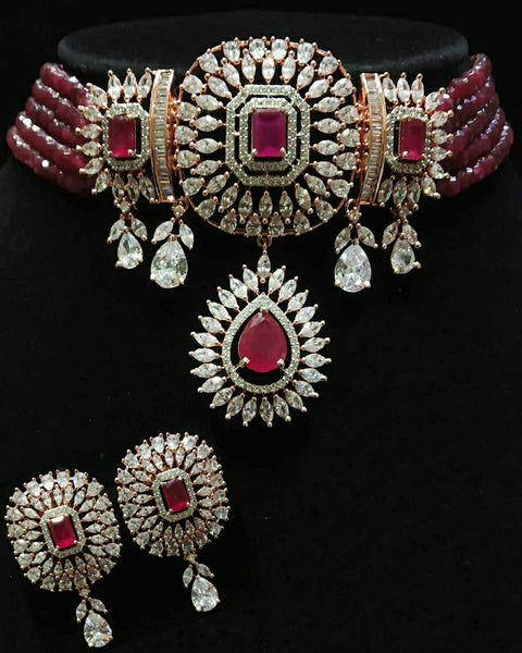 Red Pearl and Red Stone White Kundan Silver Tone Pearl Beaded Necklace with Earrings