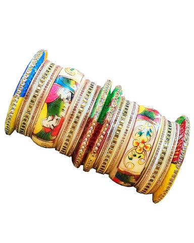 Multi Color Rajputi Hand Crafted Traditional Printed Bangles