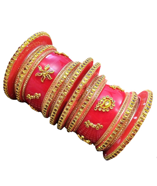 Red Rajputi Hand Crafted Traditional Printed Bangles