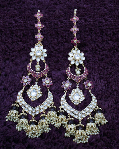 White And Purpal Color Crystal Stones Earrings