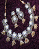 White and Gray Designer Kundan Necklace