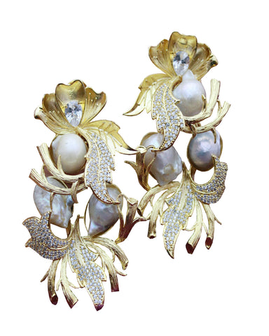 Designer Party Wear White Pearls and Stone Earrings