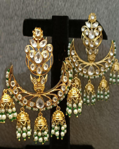 Party White Kundan Earrings