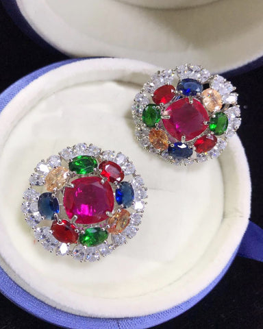 Party Wear Multi Color Earrings