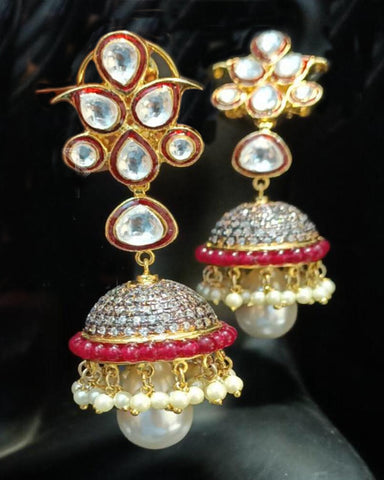 Designer Party Wear Pink and Golden Earring