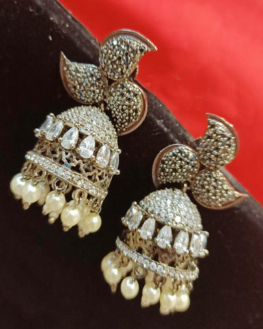 White and Brown Designer Pearls Earrings