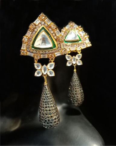 Designer White and Green Stone Earrings