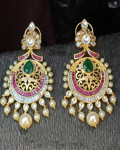 Party Wear Multi Color Golden Earrings