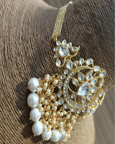 Designer Golden and White Pearls Stone Earrings