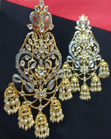Designer White Stone Earrings