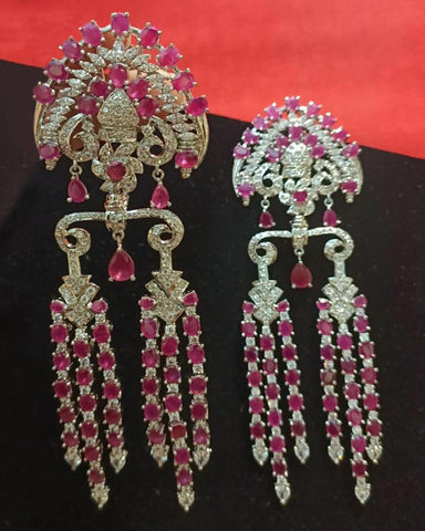 Designer White and Pink Stone Earrings