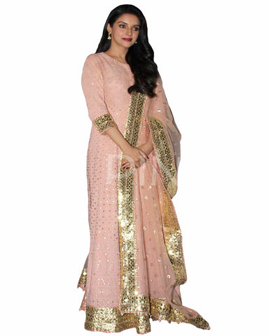 Bollywood Peach Color Asin Heavy Anarkali Gown