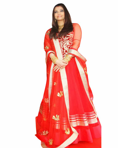 Bollywood Red Color Aiswarya Rai Anarkali Gown