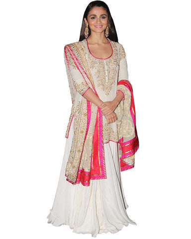 Bollywood White Color Alia Bhatt lehenga
