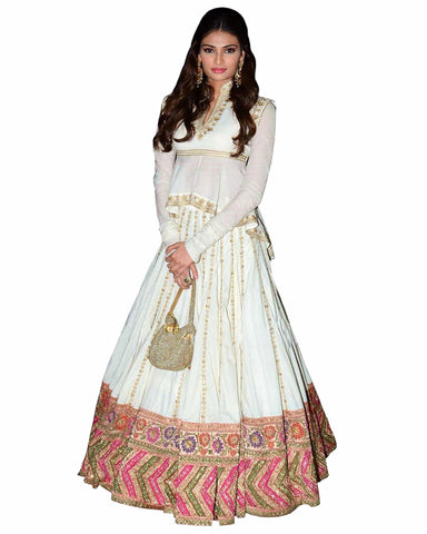 Bollywood White Color Athiya Shetty Anarkali Gown