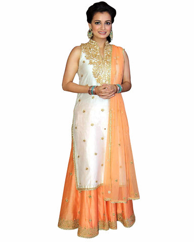 Bollywood cream Color Dia Mirza sharara