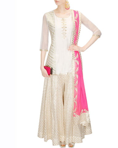 White Color Ivory chanderi Sharara suit