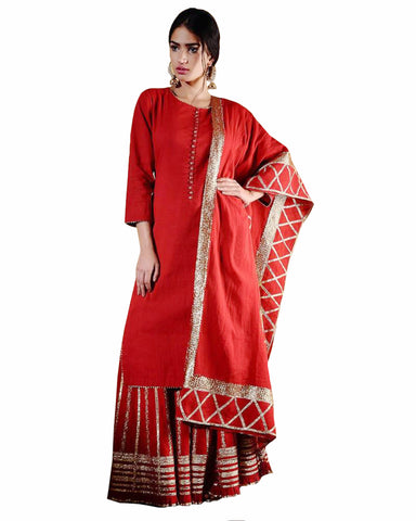 Red Color Gota Patti Palazzo suit