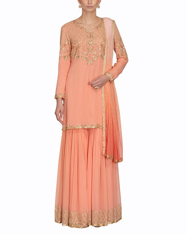 Peach color Sharara Suit