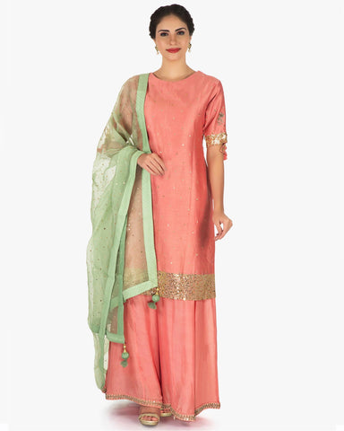 Peach & Green Color Palazzo suit