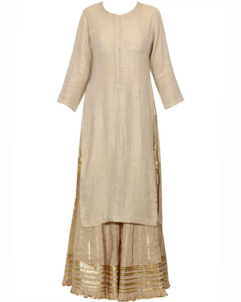 Cream color Silk Palazzo suit