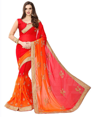 Red Color Designer Sari