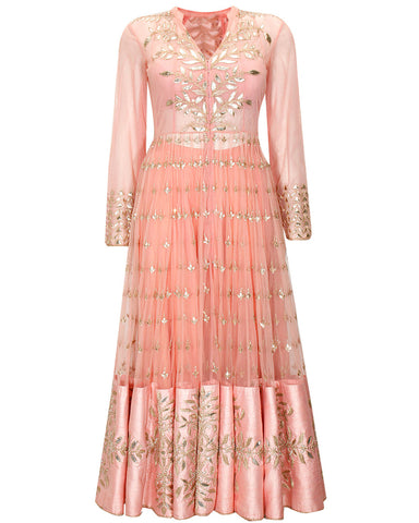 Peach Color Gota Patti Anarkali Gown