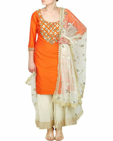 Orange & Off-White Color Gota Patti Palazzo Suit