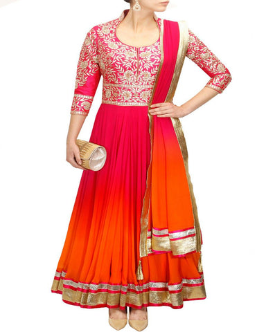 Orange & Pink Color Gota Patti Anarkali Gown