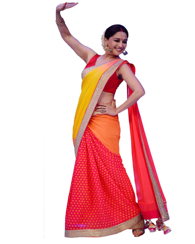 Bollywood Madhuri-Dixit Red Saree