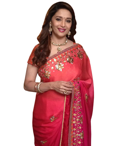 Madhuri Dixit Red Gota Patti Georgette Saree