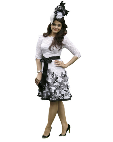 Bollywood Dress White-Black Color Aiswarya Designer Short Frock With Hat