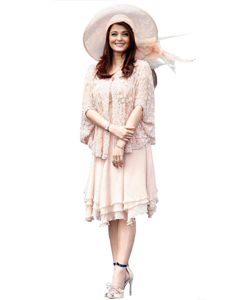 Bollywood Dress Light Peach Color Aiswarya Designer Short Frock With Hat