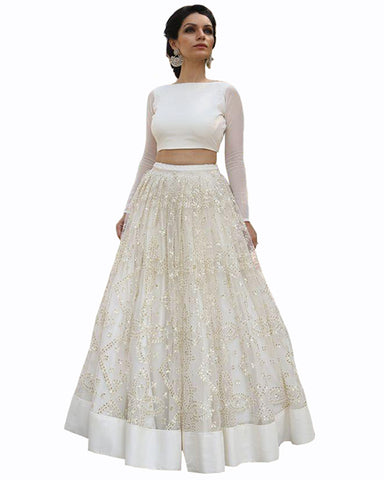 White Color Designer Net Lehenga Choli