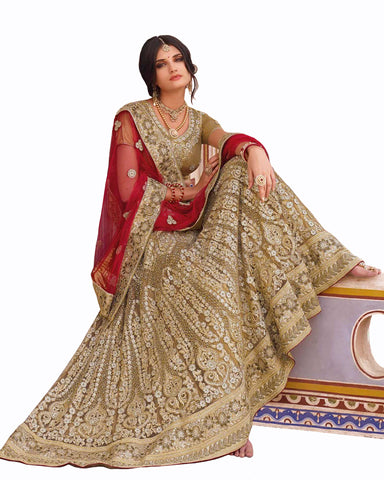 Glod Color Wedding Lehenga With Matching Jewelry