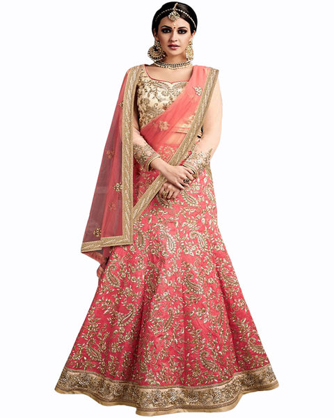 Peach & Cream Color Wedding Lehenga with jewelry