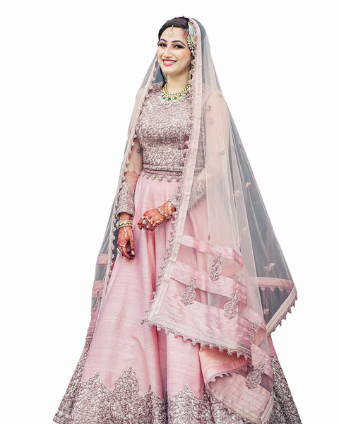 Peach Color Wedding lehenga With Matching Jewellry