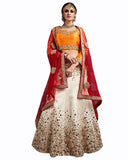 Three Color Wedding lehenga With Jewelry