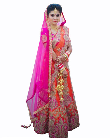 Pink & Orange Wedding lehenga With Matching Kalire,Chura,Jewellery
